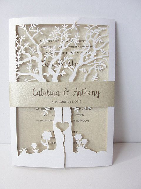 Fall Wedding Invitation Laser Cut Tree Wedding by LavenderPaperie1