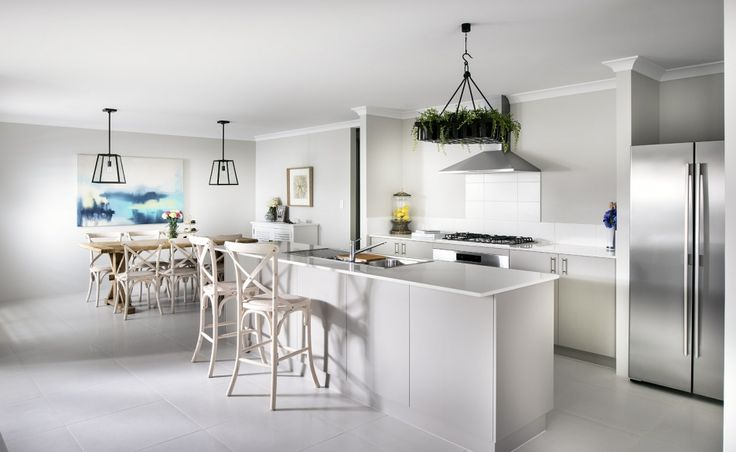 Stylish galley kitchen with Caesarstone benchtops and huge walk in pantry