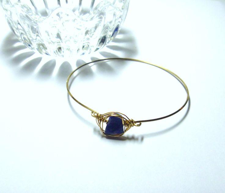 Blue Sodalite and Brass Bangle Bracelet