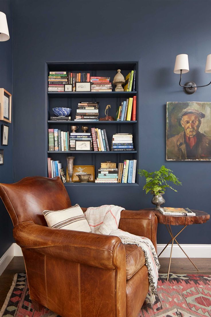 Beautifully contrast your antiques and wood pieces with Farrow and Ball's Hague Blue paint.