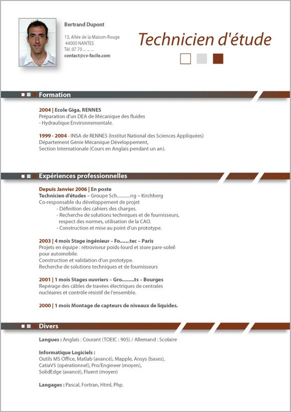 Modele Cv Technicien Sciences Appliquees Modele Cv Idee Cv