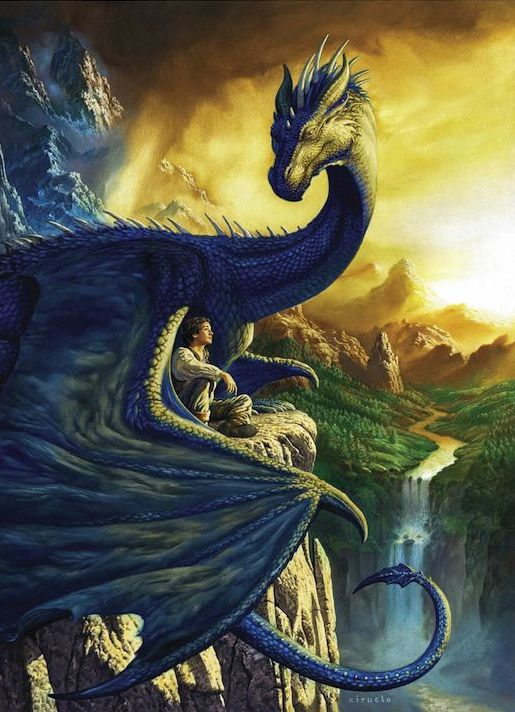 """Eragon & Saphira"" by Ciruelo Cabral. This is a beautiful picture and it shows the bond between Eragon and Saphira"