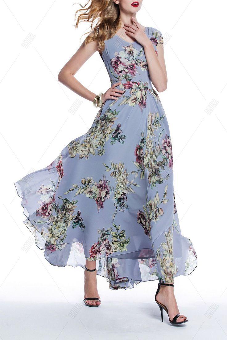 Flower Print Bohemian Maxi Dress