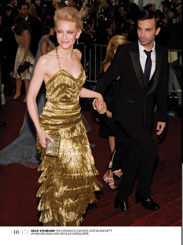 Cate Blanchett in gilded dress by Nicolas Ghesquiere for Balanciaga, Met Ball 2007
