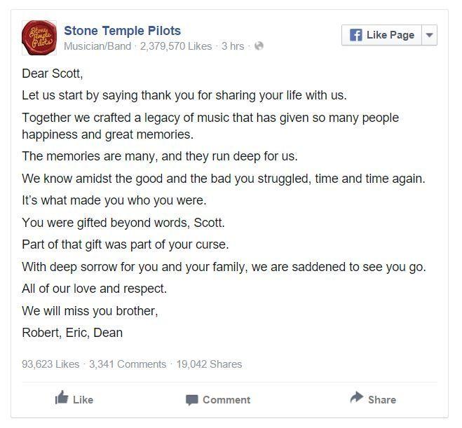 Robert DeLeo,Dean DeLeo yEric Kretz, los demás integrantes originales de la agrupación Stone Temple Pilots junto al vocalista Scott Weiland, se pronunciaro...