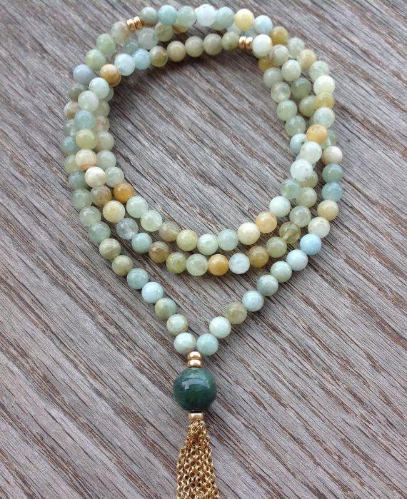 Aquamarine Gemstone Necklace Beautiful Boho Necklace by BBTresors
