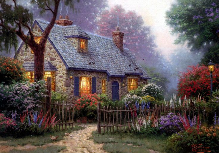 Thomas Kinkade Cottage i love this