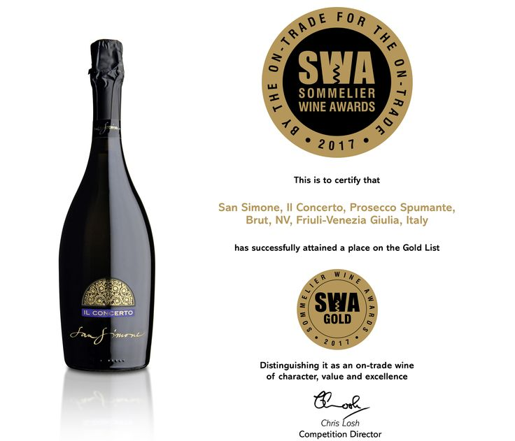 """We are thrilled to share that Prosecco Doc Brut """"Il Concerto"""" has won a gold medal at Sommelier Wine Awards 2017.... #Prosecco #DOC #Brut #Concerto #Gold #medal #musictoourears #Eurowines #SWA2017 #ontradewinecompetition #thrilled..."""