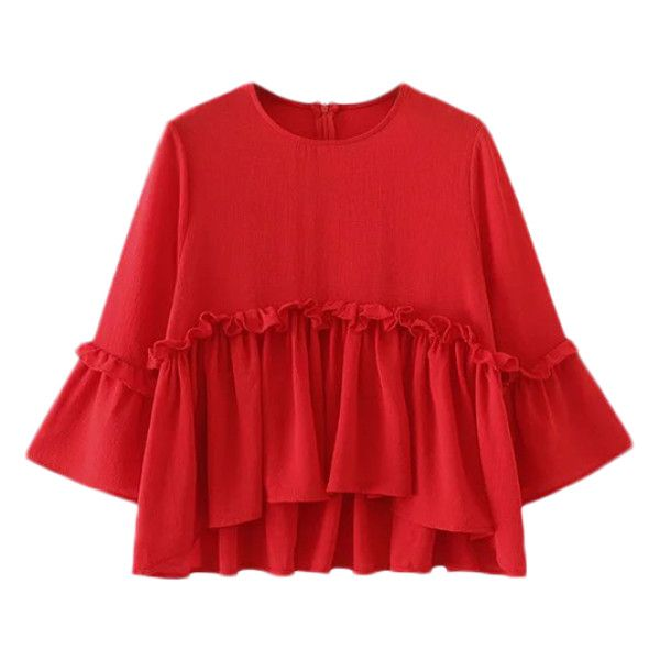 Ruffle Hem Smock Top Red (365 MXN) ❤ liked on Polyvore featuring tops, shirts, smocked top, shirt top, red shirt, red top and ruffle hem top