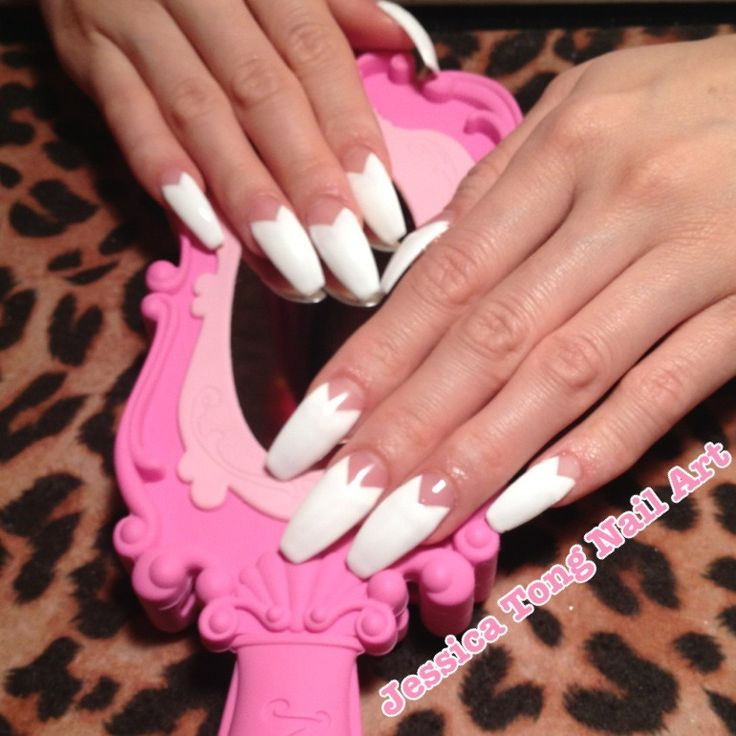 Barbie Girl, chevroned coffin tip extensions, a new take on the famous French manicure for Ms. Effie Liu press photo shoot.