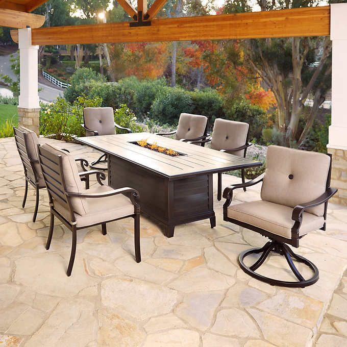 Beaumont 7 Piece Fire Dining Set Fire Pit Sets Outdoor