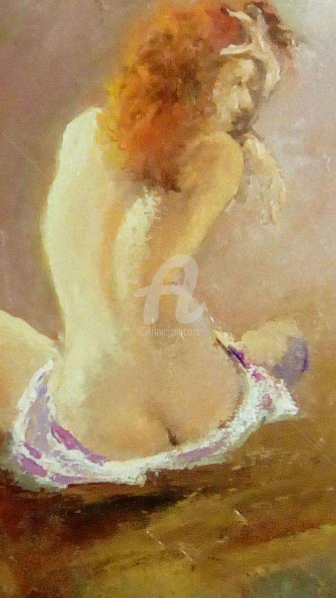 img-20161213-215105-edited.jpg - Pittura,  40x50x0,5 cm ©2016 da marco942 -                                                            Art Nouveau, Carta, Amore / Romantico, donna, nudo, capelli rossi