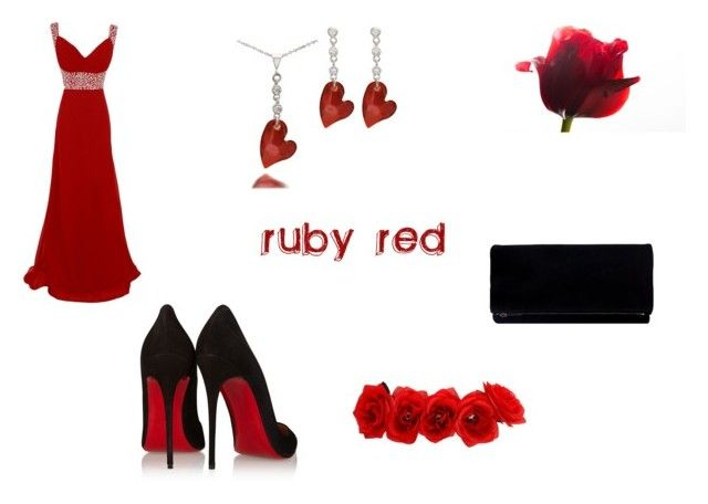 ruby red by mary-minge on Polyvore featuring Christian Louboutin, women's clothing, women's fashion, women, female, woman, misses and juniors