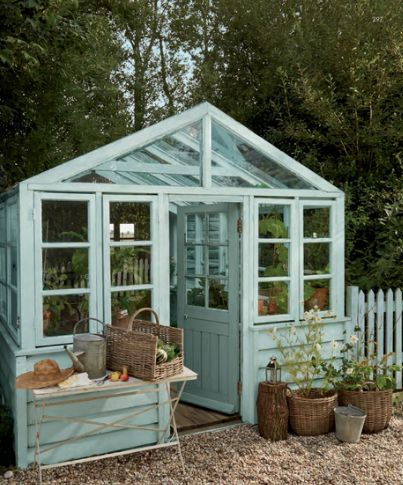 Turquoise garden greenhouse.