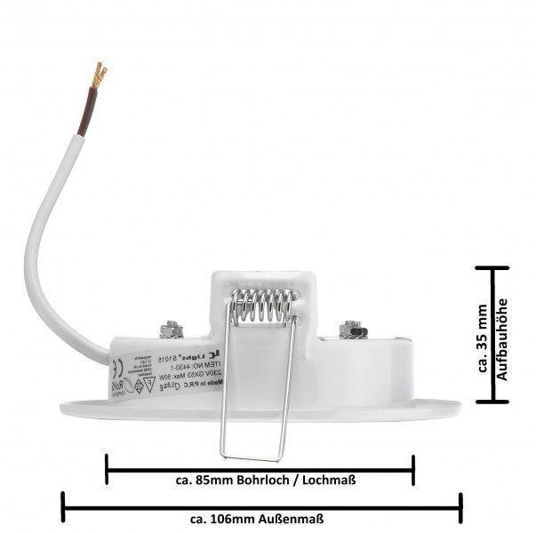 LED Einbauleuchten Set extra flach in Weiß mit LED GX53 Markenlampe von LEDANDO - 5,5W - warmweiss -