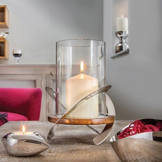 Robert Welch Helix Stainless Steel and Walnut Hurricane Lamp. Winner of the Good Design award 2015 #giftideas