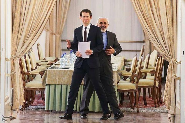 Der österreichische Aussenminister Sebastian Kurz mit seinem iranischen Amtskollegen Mohammed Dschawad Sarif (2014)