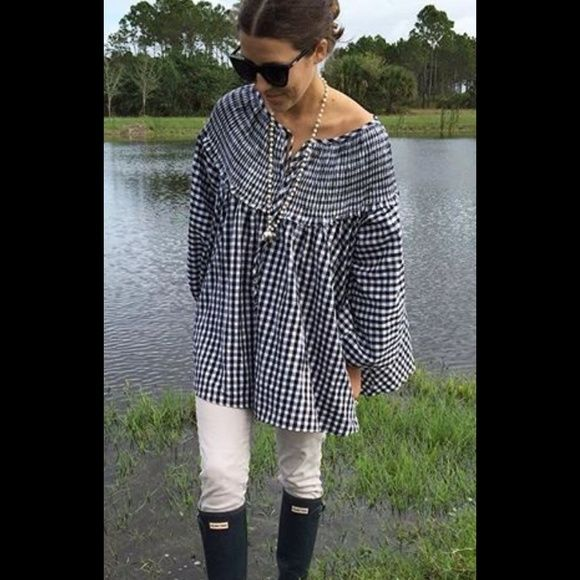 Chicwish gingham smock top NWT Chicwish Sassy Gingham Dolly Smocked Top.  Black and white check.  See last picture for details.  Size s/m. Chicwish Tops