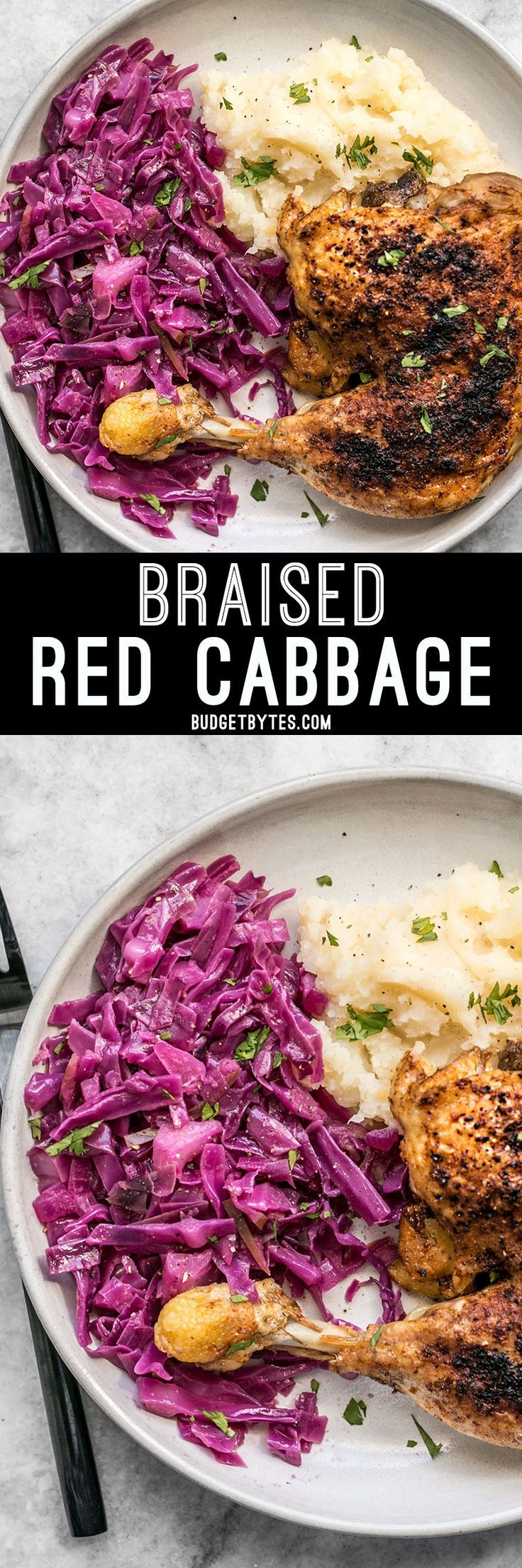 Braised Red Cabbage is an easy, cost efficient, and healthful side for your comforting winter meals.