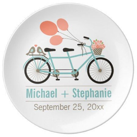 Tandem Bicycle Keepsake Porcelain Plate - Whimsical Love Birds on a Tandem Bicycle #tandem #bicycle #blue #pink #keepsake #plate #personalized #coral #tiffany #teal #turquoise #turqoise #aqua #vintage #retro #anniversary #wedding #gift #favor #present #custom #bride #wife #girlfriend #picnic #simple #casual #contemporary #modern #birds #balloons #flowers #basket #love #heart...