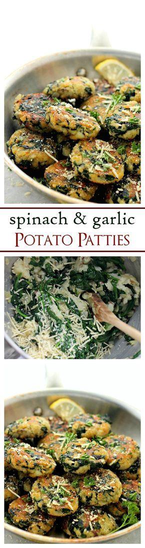 Patatas al horno con espinacas y ajo