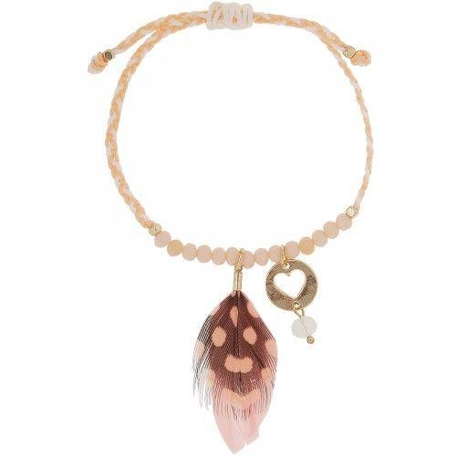Armband | Veertje roze hart