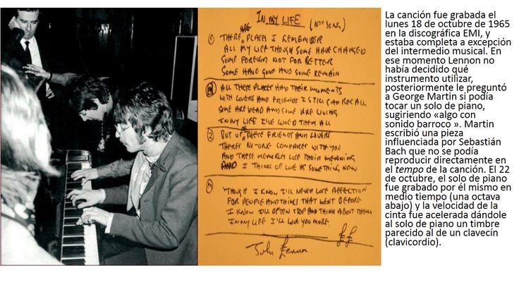 """Foto: THE BEATLES Y JUAN SEBASTIAN BACH En Londres eran los días de otoño de 1965 y a The Beatles les faltaba completar la canción """"IN MY LIFE"""" . Estaban en la disyuntiva de introducir en el intermedio del tema el dúo de guitarras Lennon-Harrison o bien colocar una pieza orquestada, sin pensarlo mucho, la respuesta iluminada vino del productor de The Beatles George Martin, quien les dijo: """"¡colocaremos una breve sonata de Juan Sebastián Bach, con piano!"""""""
