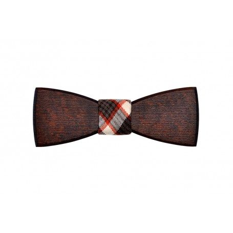Tmavé bukové dřevo je to pravé do večerní společnosti. S ozdobnou látkou působí k obleku velmi elegantně.
