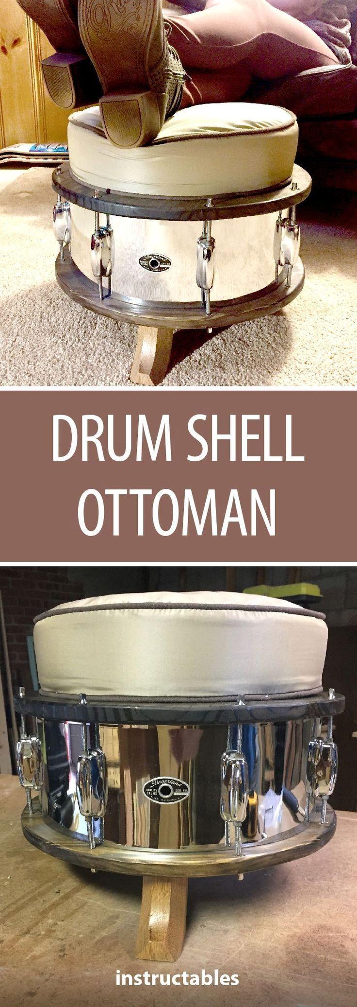 Drum Shell Ottoman: Vor ein paar Jahren kaufte ich einen verwitterten Slingerla aus den 1970er Jahren …