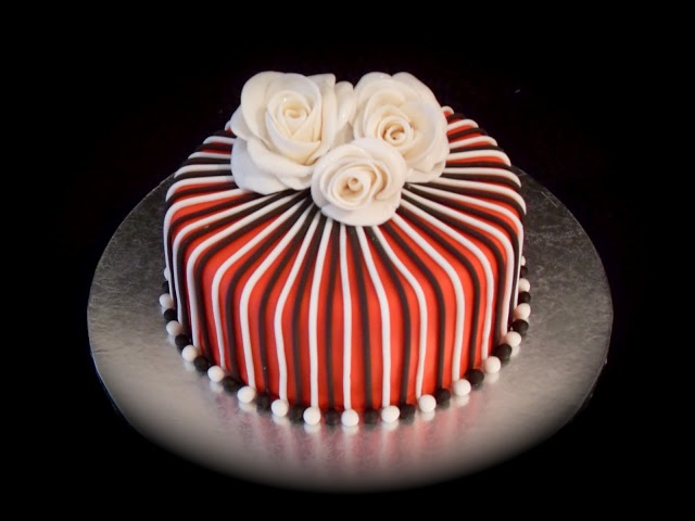 Rose Cake With Stripes Red White Black