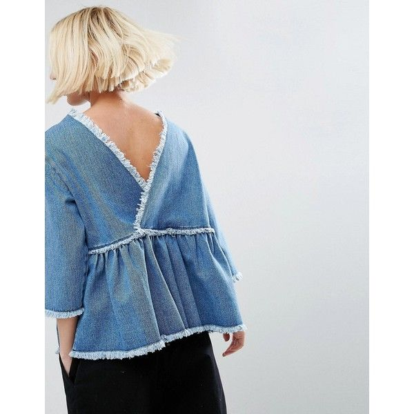 ASOS Denim Smock Top with Wrap Back in Vintage Wash (129.285 COP) ❤ liked on Polyvore featuring tops, blue, smocked top, peplum tops, blue wrap top, wrap style top and asos tops