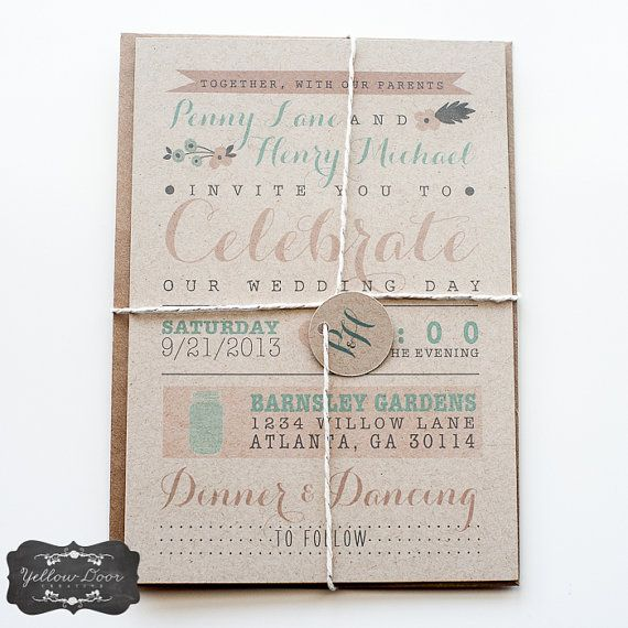 Wedding Invitation / / Rustic & Modern Kraft Paper Invitation / / Pink, Peach and Teal Calligraphy op Etsy, 1,99€