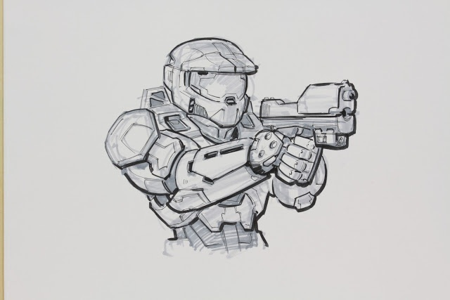 Halo 3 Master Chief drawing. Might be drawing this...