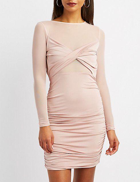 Mesh-Trim Ruched Bodycon Dress