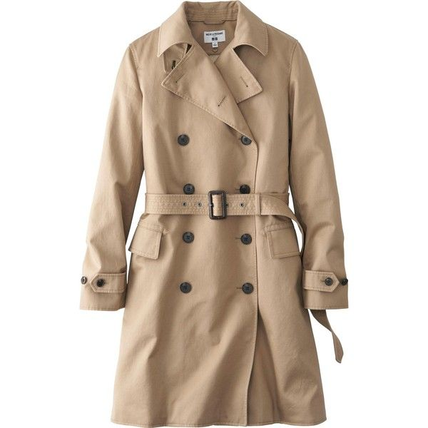 UNIQLO Women Idlf Trench Coat ($130) ❤ liked on Polyvore featuring outerwear, coats, jackets, tops, uniqlo coat, uniqlo, cotton trench coat, trench coat and cotton coat