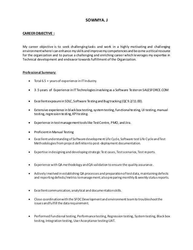 Qa Tester Resume No Experience Unusual Salesforce Testing Resume