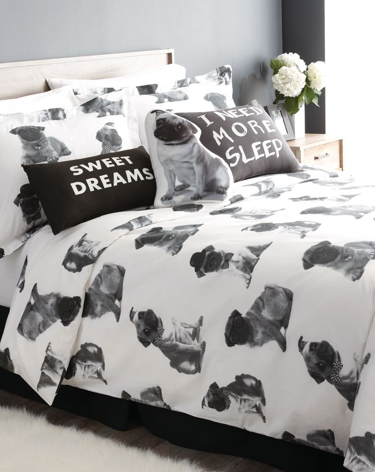 Pugs are playful and cuddly; so is our bedding with the adorable pooch print! Fun for kids of all ages (adults, too!).
