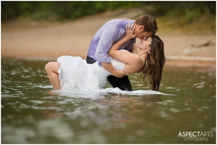 Okanagan Trash the Dress Vernon BC Rock the Frock session at Ellison Park.  The bride and groom in the water. #trashthedress #rockthefrock  www.aspectartsphoto.com
