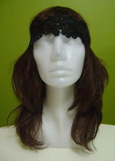 siyah dantel saç bandı bandana