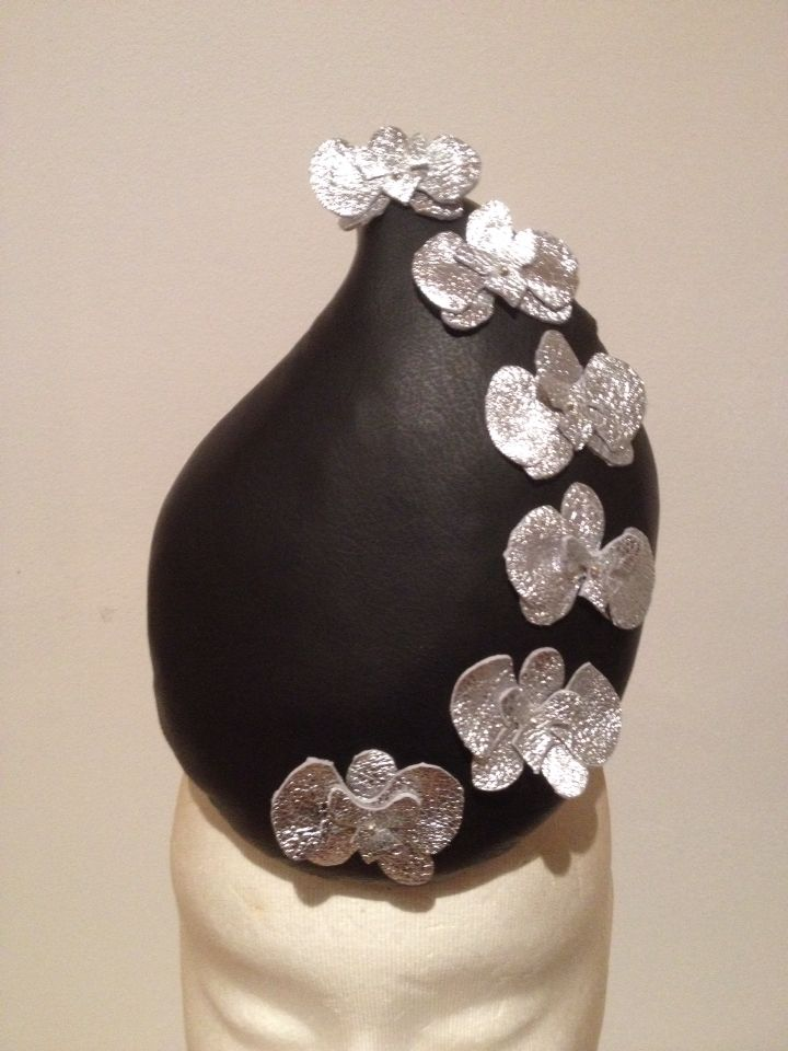 For Sale. Black Leather Percher with Silver Leather Orchids.