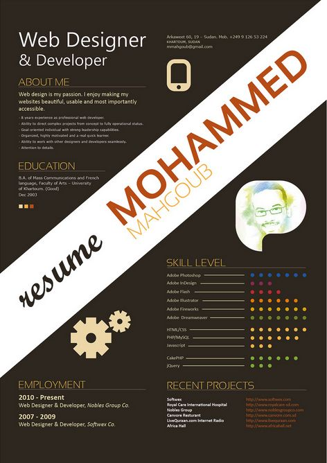 25 great high quality and modern examples of creative cv resume design - Web Designer Resume