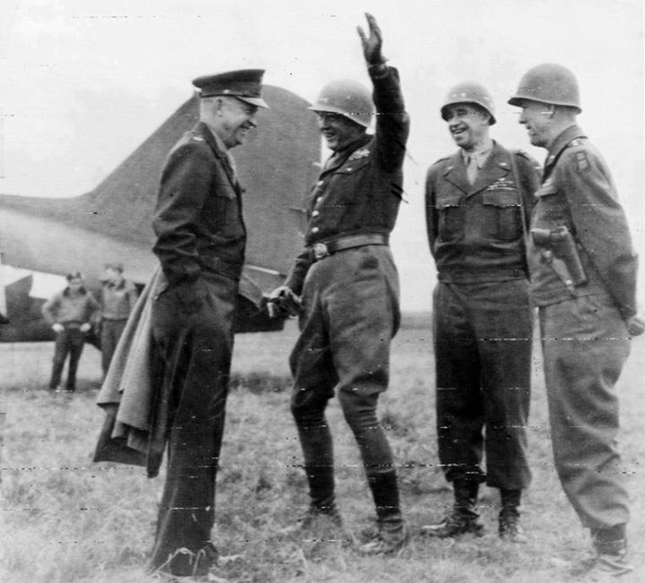 Dwight Eisenhower George Patton Omar Bradley and Courtney Hodges 25 March 1945.