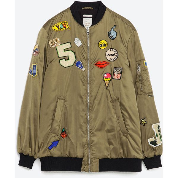 Zara Oversized Bomber Jacket With Patches ($129) ❤ liked on Polyvore featuring outerwear, jackets, zara, bomber, light khaki, bomber style jacket, flight bomber jacket, patch jacket, lined bomber jacket and blouson jacket