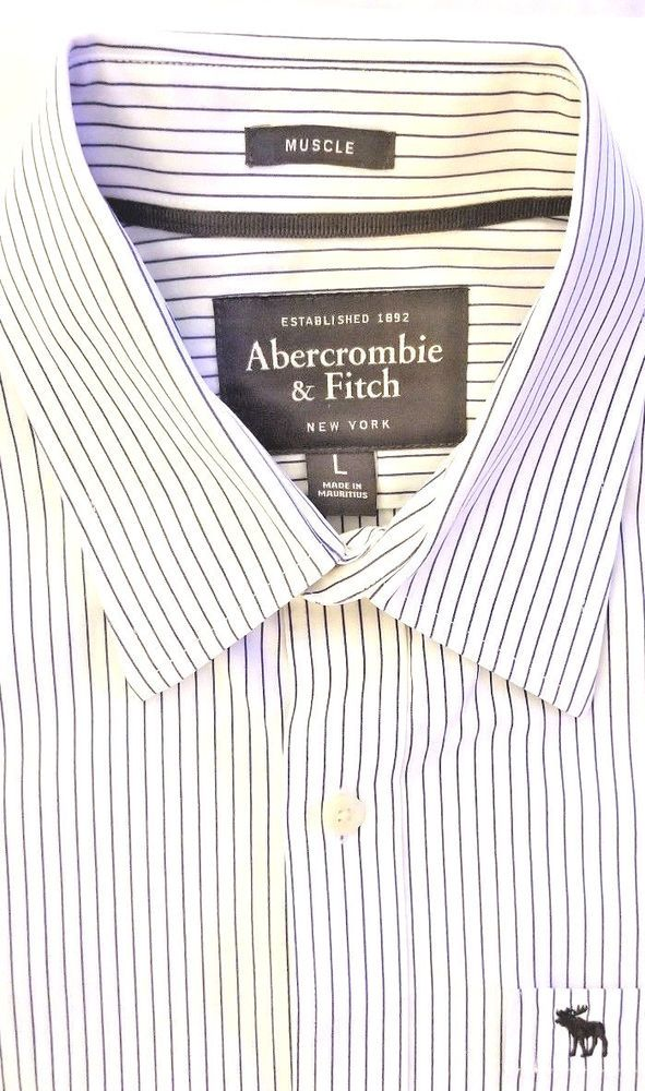 0db446172 Abercrombie & Fitch Mens Muscle Shirt Sz Large Button Down Blue & White  Stripes #AbercrombieFitch