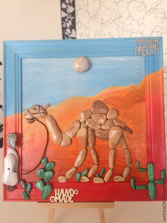 Купить Ностальгия по Египту - оранжевый, pebble art, картина в подарок, картина для интерьера, картина из гальки