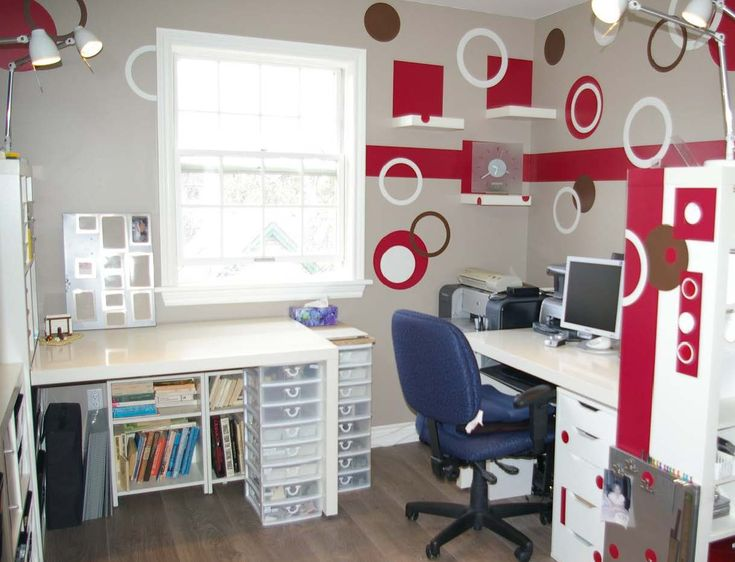 Awesome Craft Room Design Ideas : Awesome Craft Room Design Ideas With Wall  Pops And Wooden White Home Office Desk Chair And Table And Woode.