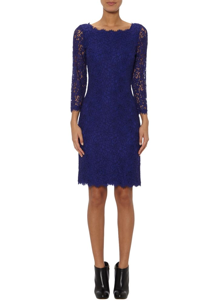 Diane von Furstenberg Kanten jurk Zarita Long in indigoblauw • de Bijenkorf