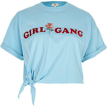 Blue 'girl gang' knot front cropped T-shirt £18.00