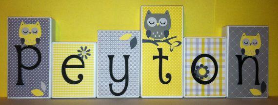 Personalized Wood Blocks - M2M Pottery Barns Georgia - Baby Room Custom Name Blocks - Owls - Baby Letter Blocks via Etsy