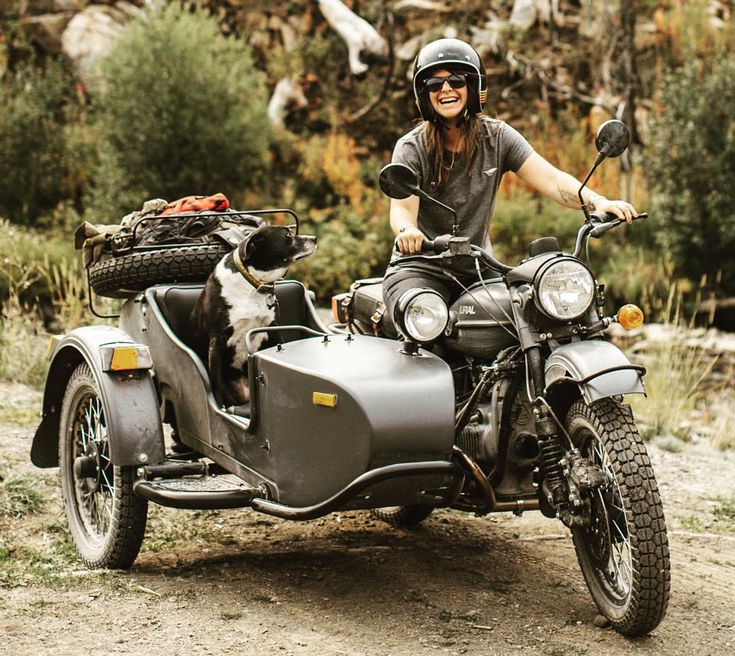 "uralmotorcycles: "" Sidecar for your sidekick. @beccaskinner and her trusty steed. Photo:@jennylinquist """
